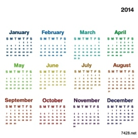 Free Download 23 Calendar 2014, Designed in Vector Format, Eps, AI, Pdf-10