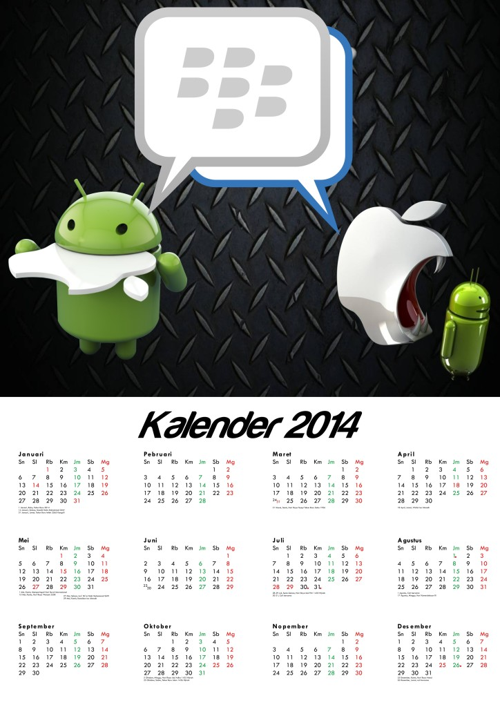 Kalender 2014 Tema BlackBerry Messenger for Android and iPhone iOS - Calendar Desain 04