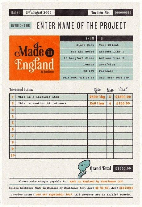 16. Contoh desain invoice Made in England
