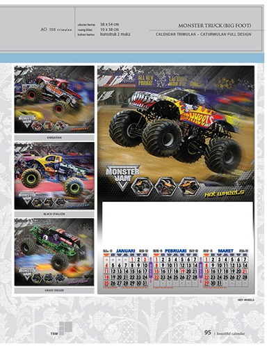 Kalender 2015 Triwulan AO Design Wall Calendar Dinding - Kalender 2015 AO - Triwulan 3 Bulanan - Free Download Jpg Thumbnails Quality Preview - Tema Automotive Monster Truck
