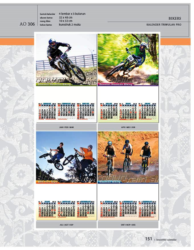 Kalender 2015 Triwulan AO Design Wall Calendar Dinding - Kalender 2015 AO - Triwulan 3 Bulanan - Free Download Jpg Thumbnails Quality Preview - Tema Biker Sepeda Balap