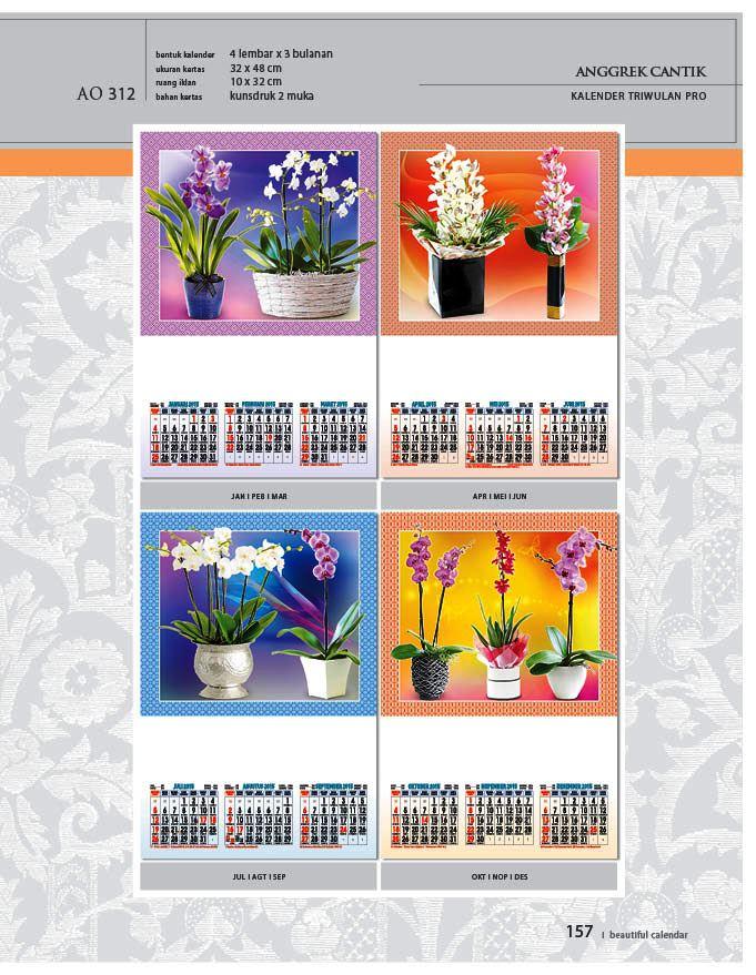Kalender 2015 Triwulan AO Design Wall Calendar Dinding - Kalender 2015 AO - Triwulan 3 Bulanan - Free Download Jpg Thumbnails Quality Preview - Tema Bunga Anggrek Cantik