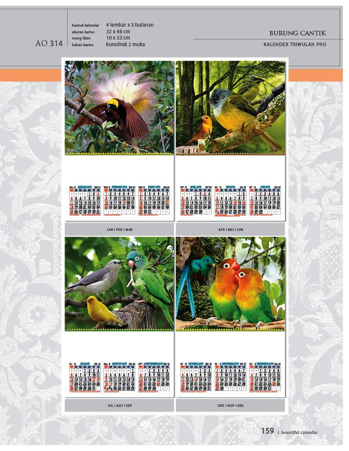 Kalender 2015 Triwulan AO Design Wall Calendar Dinding - Kalender 2015 AO - Triwulan 3 Bulanan - Free Download Jpg Thumbnails Quality Preview - Tema Foto Gambar Burung Cantik