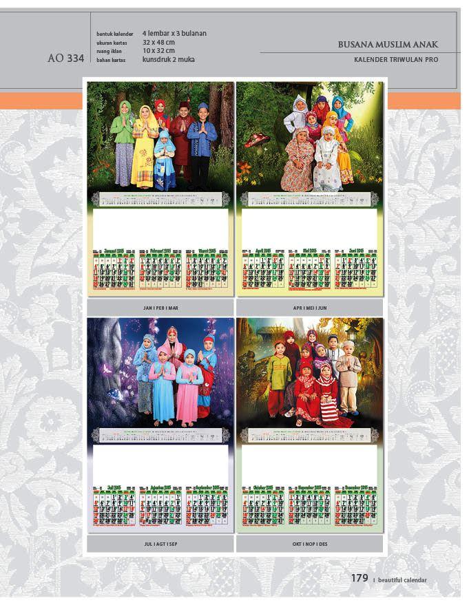Kalender 2015 Triwulan AO Design Wall Calendar Dinding - Kalender 2015 AO - Triwulan 3 Bulanan - Free Download Jpg Thumbnails Quality Preview - Tema Foto Gambar Busana Muslim Anak-anak
