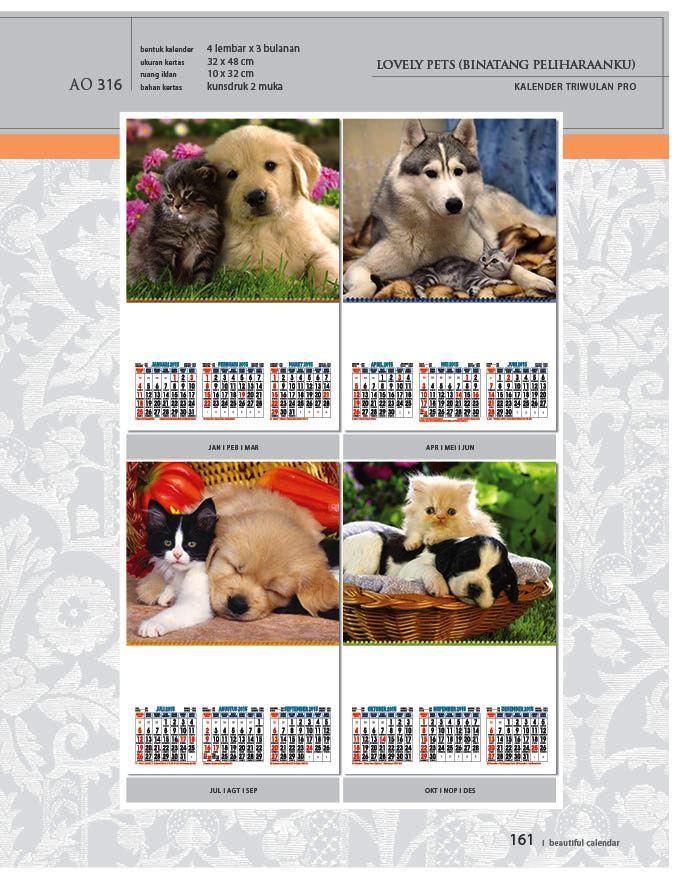 Kalender 2015 Triwulan AO Design Wall Calendar Dinding - Kalender 2015 AO - Triwulan 3 Bulanan - Free Download Jpg Thumbnails Quality Preview - Tema Foto Gambar Kucing dan Anjing