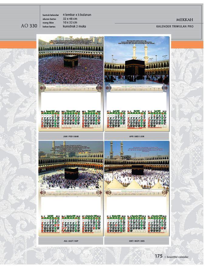 Kalender 2015 Triwulan AO Design Wall Calendar Dinding - Kalender 2015 AO - Triwulan 3 Bulanan - Free Download Jpg Thumbnails Quality Preview - Tema Foto Gambar Makkah Masjidil Haram