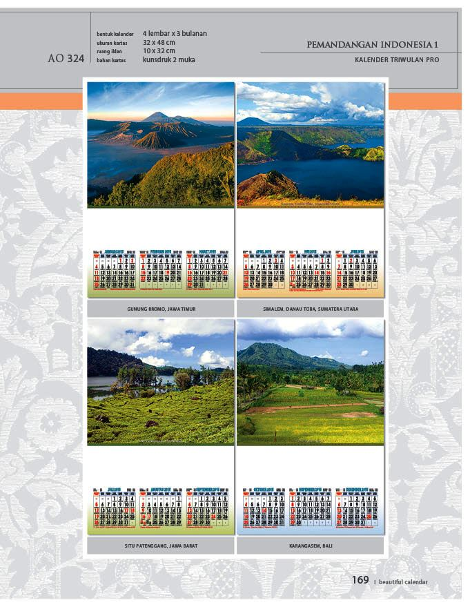 Kalender 2015 Triwulan AO Design Wall Calendar Dinding - Kalender 2015 AO - Triwulan 3 Bulanan - Free Download Jpg Thumbnails Quality Preview - Tema Foto Gambar Pemandangan Alam Indonesia