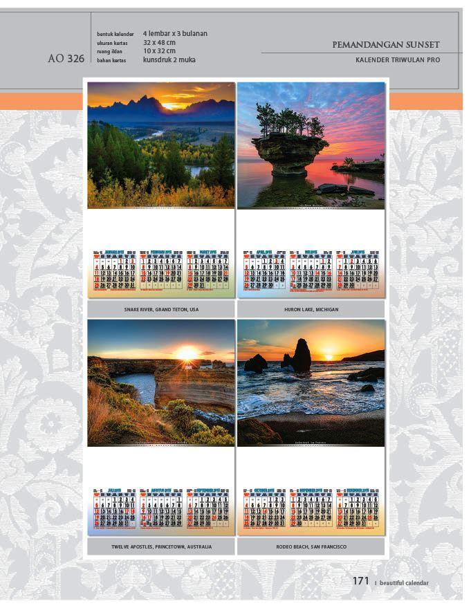 Kalender 2015 Triwulan AO Design Wall Calendar Dinding - Kalender 2015 AO - Triwulan 3 Bulanan - Free Download Jpg Thumbnails Quality Preview - Tema Foto Gambar Pemandangan Sunset Senja Hari