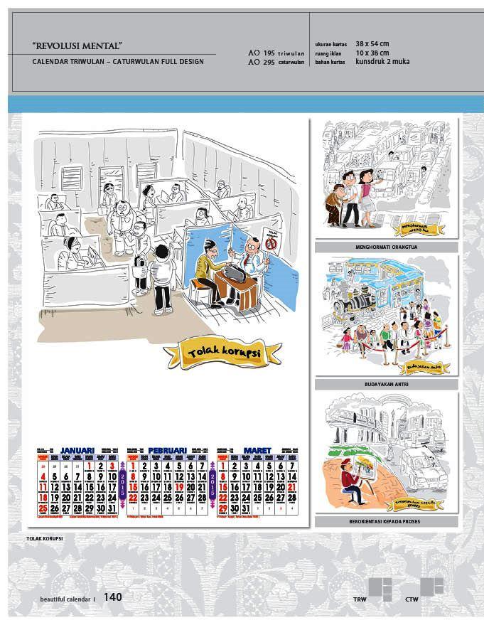 Kalender 2015 Triwulan AO Design Wall Calendar Dinding - Kalender 2015 AO - Triwulan 3 Bulanan - Free Download Jpg Thumbnails Quality Preview - Tema Revolusi Mental Tolak Korupsi