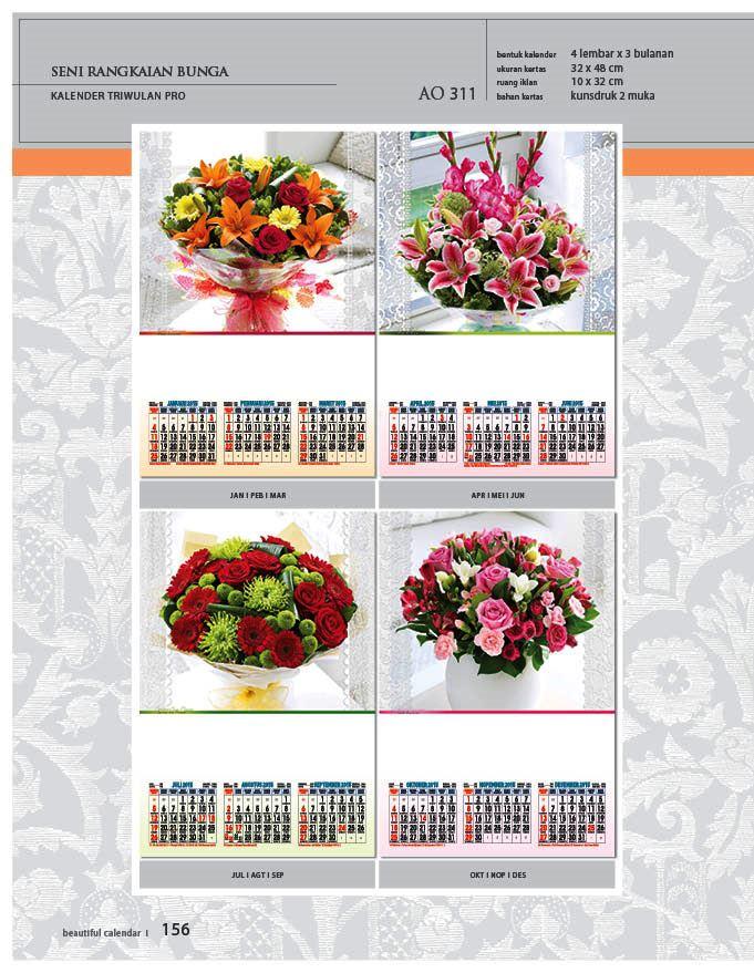 Kalender 2015 Triwulan AO Design Wall Calendar Dinding - Kalender 2015 AO - Triwulan 3 Bulanan - Free Download Jpg Thumbnails Quality Preview - Tema Seni IKebana Merangkai Bunga