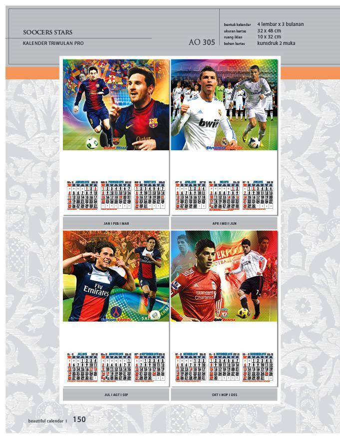 Kalender 2015 Triwulan AO Design Wall Calendar Dinding - Kalender 2015 AO - Triwulan 3 Bulanan - Free Download Jpg Thumbnails Quality Preview - Tema Soccer Stars Pemain Bintang Sepak Bola
