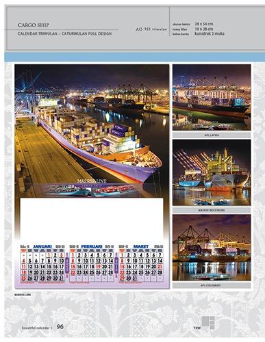 Kalender 2015 Triwulan AO Design Wall Calendar Dinding - Kalender 2015 AO - Triwulan 3 Bulanan - Free Download Jpg Thumbnails Quality Preview - Tema Transportasi Laut Kapal Kargo
