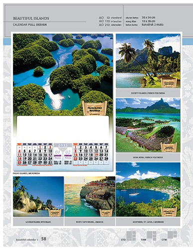 Kalender 2015 Desain Standar Full AO Print Cetak - Kalender 2015 Desain Standar Full - AO 13 - Beautiful Islands
