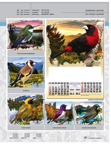 Kalender 2015 Desain Standar Full AO Print Cetak - Kalender 2015 Desain Standar Full - AO 36 - Burung Cantik