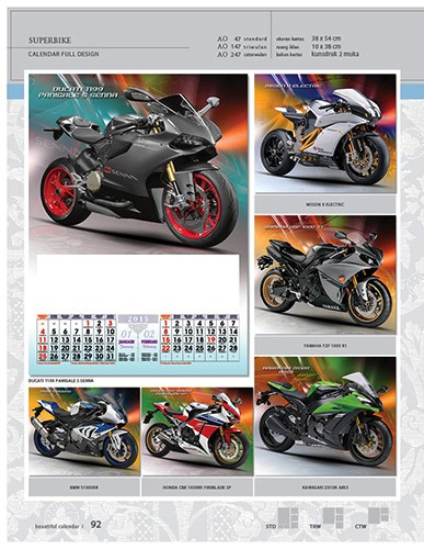 Kalender 2015 Desain Standar Full AO Print Cetak - Kalender 2015 Desain Standar Full - AO 47 - Superbike