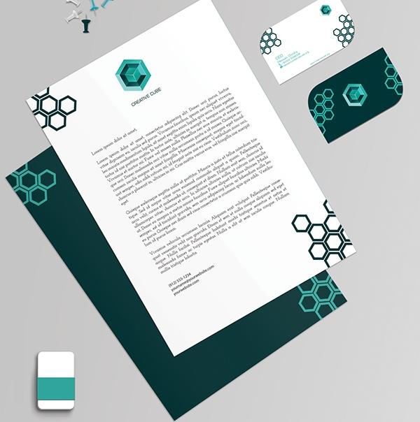 17 Kop Surat dengan Desain Elegan - Branding of Creative Cube - Kop Surat Desain Elegan