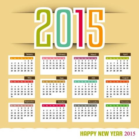 Colorful-New-year-text-with-month-in-block-2015-Vector ...