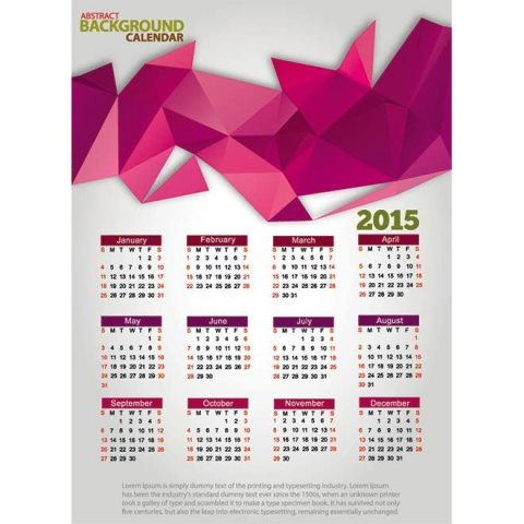 Creative Pink triangle shape 2015 Vector Calendar