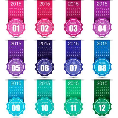 Creative-month-label-with-ribbon-2015-Vector-Calendar-Kalender-2015-Desain-Unik-Jpg-Printable-dan-Template-Free-Download