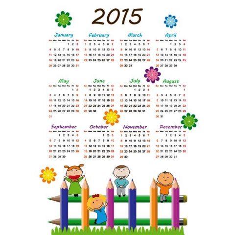 Cute-kids-with-colorful-pencil-2015-Vector-calendar-Kalender-2015-Desain-Unik-Jpg-Printable-dan-Template-Free-Download