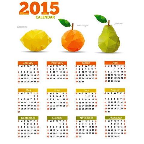 Geometric-Origami-Fruit-set-2015-Vector-calendar-template-Kalender-2015-Desain-Unik-Jpg-Printable-dan-Template-Free-Download