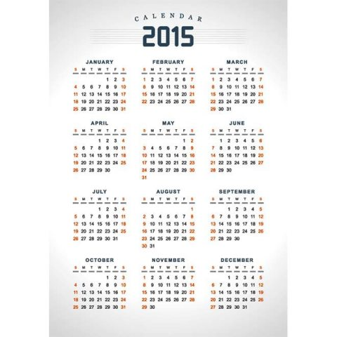 Printable 2015 Vintage Calendar Ausdruckbarer Kalender 2015 Image