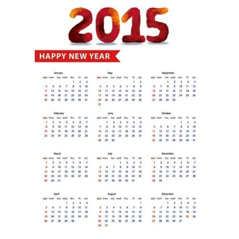 Polygon-style-New-year-text-with-2015-Calendar-template-Kalender-2015-Desain-Unik-Jpg-Printable-dan-Template-Free-Download