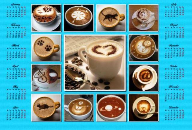 Printable-Calender-2015-Format-JPEG-Warna-Biru-dan-Coklat-Gambar-Aneka-Minuman-Kopi-Capucino-Espresso