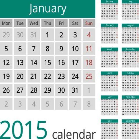 Turquoise-header-simple-European-2015-Vector-Calendar ...