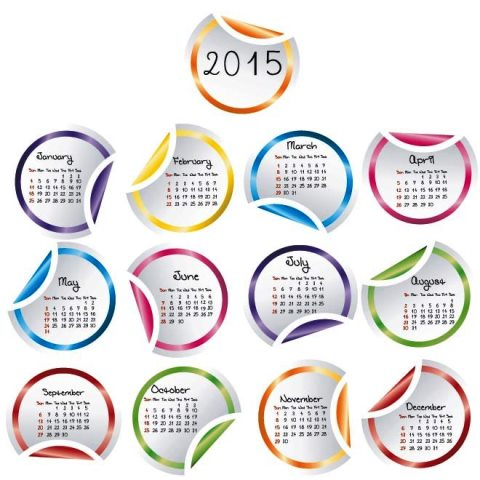 beautiful-cirlce-glossy-sticker-2015-Vector-Calendar ...