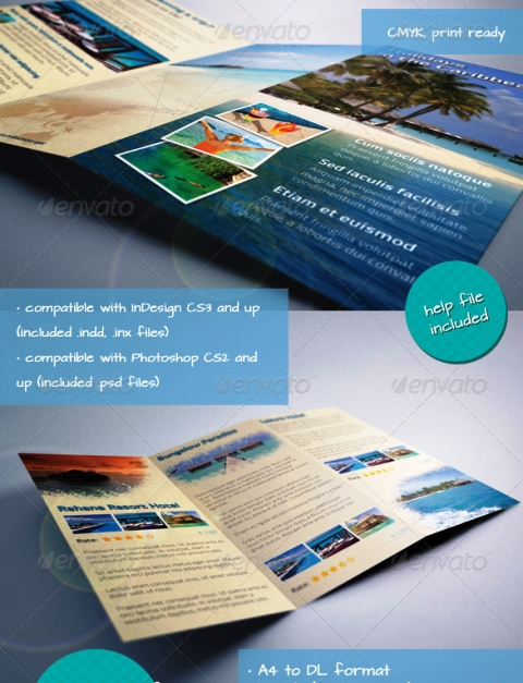 25 Contoh Desain Brosur Tour Dan Travel Terbaik - Brosur-Tour-dan-Travel-Caribbean-Holiday-Travel-Offer-Tri-fold-Brochure