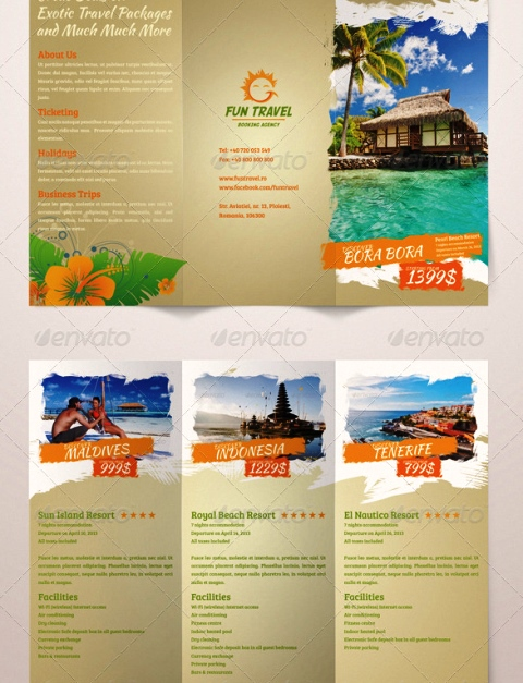 25 contoh desain brosur tour travel terbaik inspiratif idea for Tourist brochure template