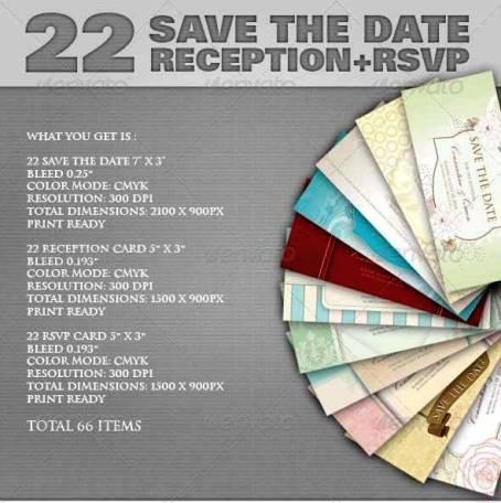 Desain Undangan Pernikahan Terbaik Template Photoshop - Contoh-Desain-Undangan-Pernikahan-Terbaik-22-Save-The-Date-Sets