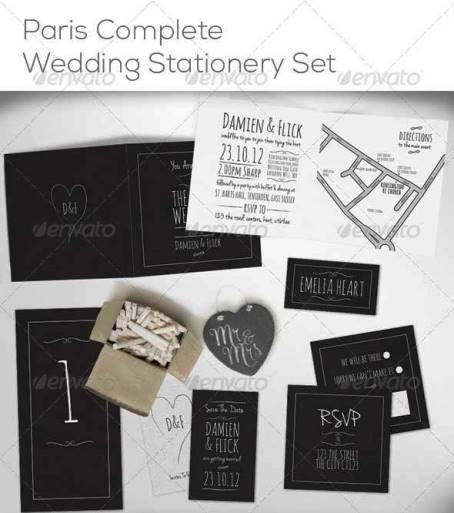 Desain Undangan Pernikahan Terbaik Template Photoshop - Contoh Desain Undangan Pernikahan Terbaik - Chalk Board Complete Wedding Stationery Set