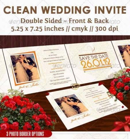 Desain Undangan Pernikahan Terbaik Template Photoshop - Contoh Desain Undangan Pernikahan Terbaik - Clean Wedding Invite