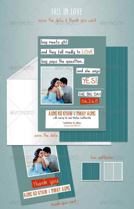 Desain Undangan Pernikahan Terbaik Template Photoshop - Contoh Desain Undangan Pernikahan Terbaik - Fall In Love