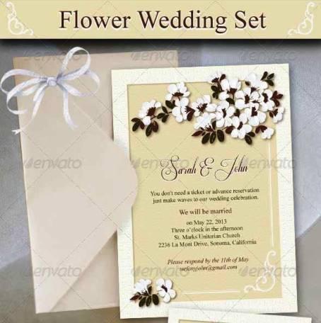 Desain Undangan Pernikahan Terbaik Template Photoshop - Contoh Desain Undangan Pernikahan Terbaik - Flower Wedding Set