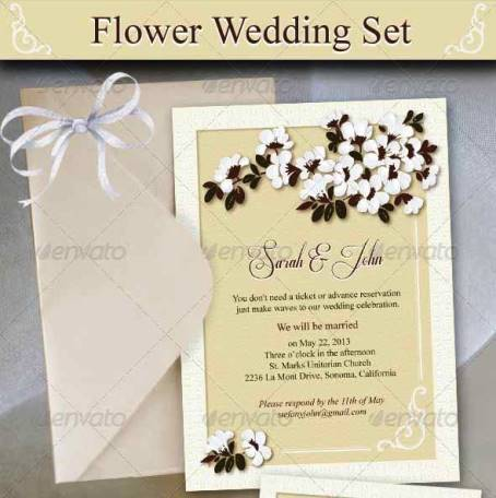 12 desain undangan nikah flowery wedding invitation 13 desain undangan