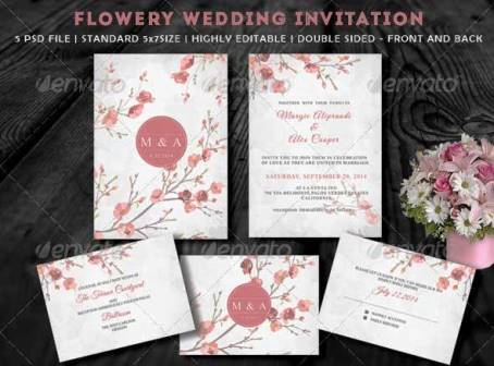 Desain Undangan Pernikahan Terbaik Template Photoshop - Contoh Desain Undangan Pernikahan Terbaik - Flowery Wedding Invitation