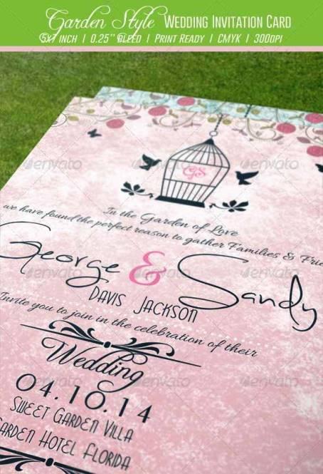 Desain Undangan Pernikahan Terbaik Template Photoshop - Contoh Desain Undangan Pernikahan Terbaik - Garden Style Wedding Invitation Card