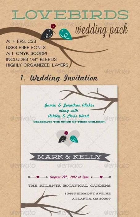 Desain Undangan Pernikahan Terbaik Template Photoshop - Contoh Desain Undangan Pernikahan Terbaik - Lovebirds Wedding Pack