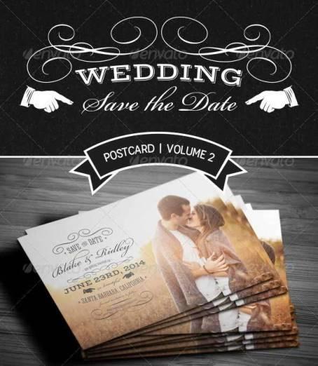 Contoh Desain Undangan Pernikahan Terbaik - Save The Date Postcard V2