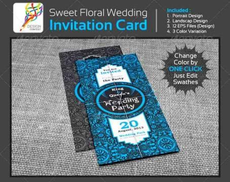 Desain Undangan Pernikahan Terbaik Template Photoshop - Contoh Desain Undangan Pernikahan Terbaik - Sweet Floral Wedding Engagement Party Invitation