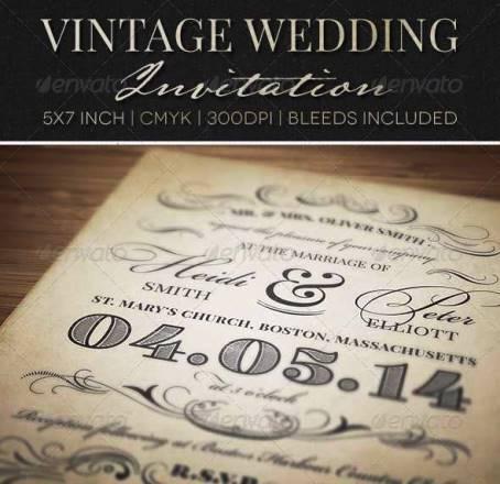 Desain Undangan Pernikahan Terbaik Template Photoshop - Contoh Desain Undangan Pernikahan Terbaik - Vintage Wedding Invitation