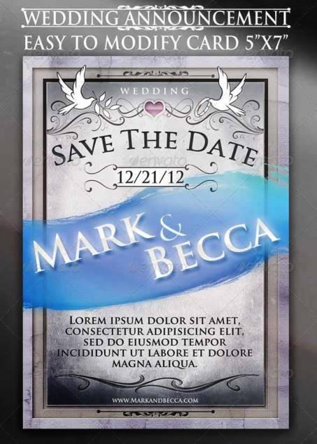 Desain Undangan Pernikahan Terbaik Template Photoshop - Contoh Desain Undangan Pernikahan Terbaik - Wedding Announcement Card Template