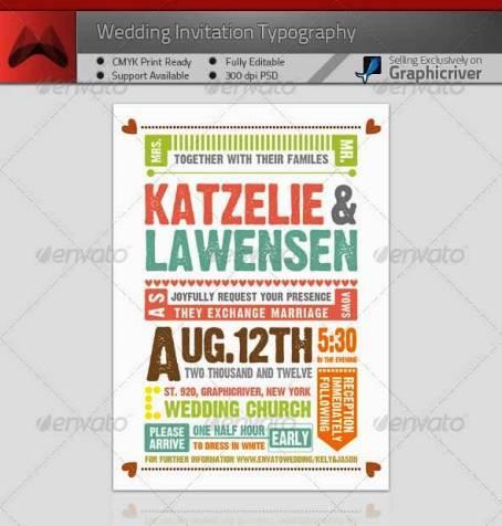 Desain Undangan Pernikahan Terbaik Template Photoshop - Contoh Desain Undangan Pernikahan Terbaik - Wedding Invitation Typography