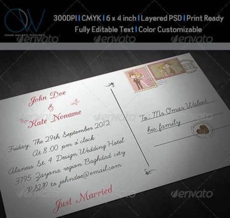 Desain Undangan Pernikahan Terbaik Template Photoshop - Contoh Desain Undangan Pernikahan Terbaik - Wedding Postcard Invitation