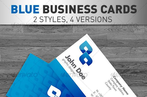 Desain Kartu Nama Perusahaan - Blue Business Cards 4 VERSIONS