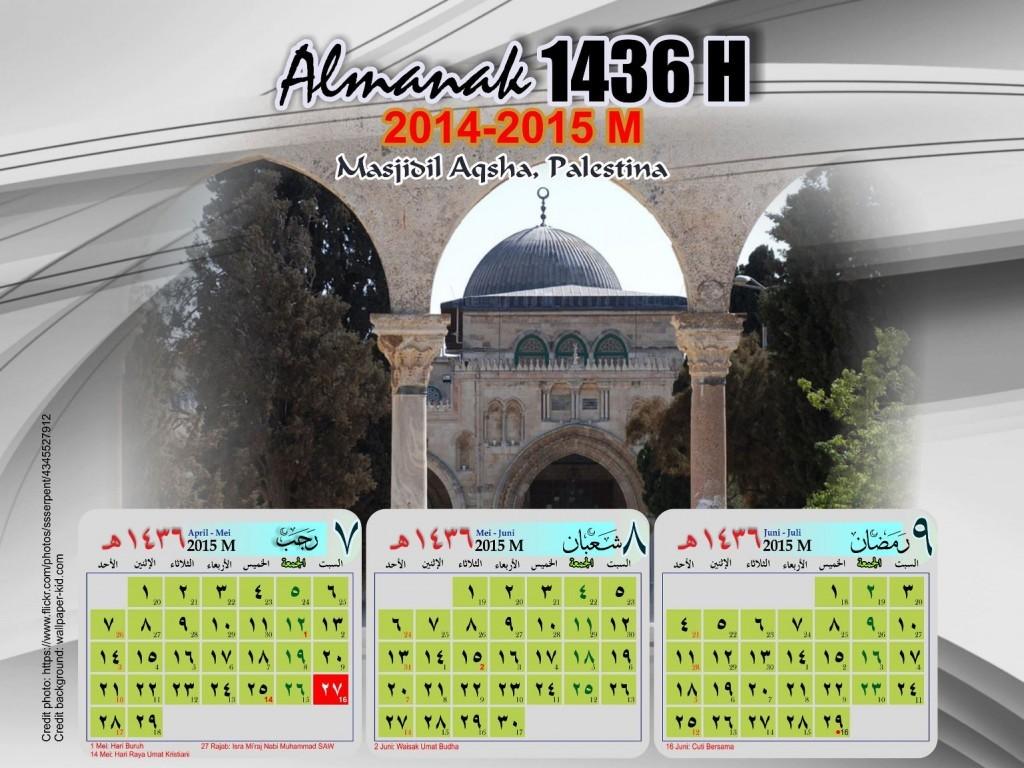 Kalender Hijriyah 1436 2015 Gambar Masjid Terkenal - Kalender-Hijriyah-1436-2015-03-Masjidil-Aqsha-Palestina-1024x768