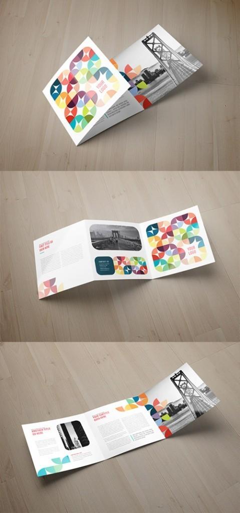 Contoh Desain Brosur Lipat Tiga - Contoh-Desain-Brosur-Lipat-3-terbaru-Square-Colorful-Circles-Pattern-Trifold